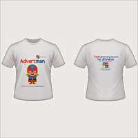 White Round Neck Printed T-shirt