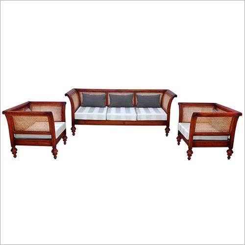 Cane Carved Oriental Sofa