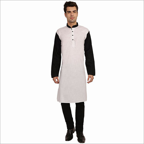 Veera Paridhaan Men's Solid White and Black Long Kurta