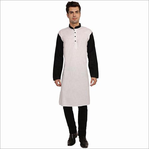 Veera Paridhaan Men's Solid White and Black Long Kurta
