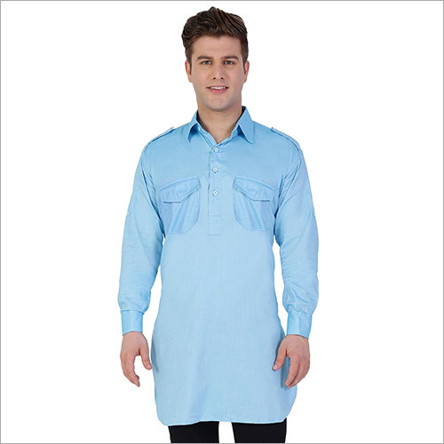 Veera Paridhaan Men's Solid Blue Kurta