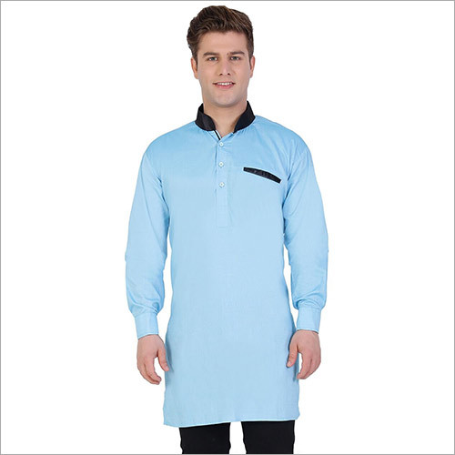 Veera Paridhaan Men's Solid Blue Kurta Pajama