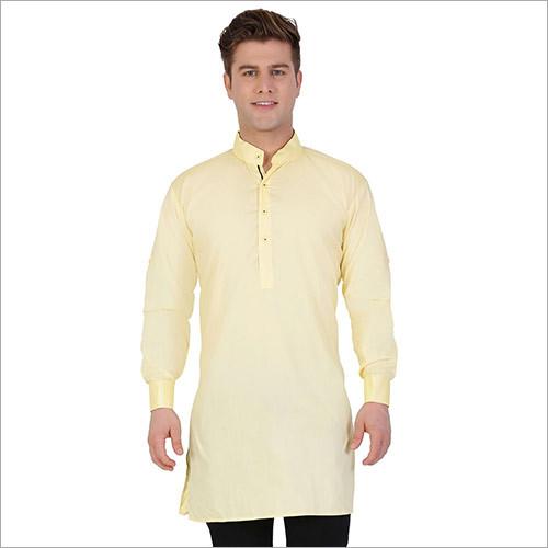 Veera Paridhaan Men's Solid Yellow Kurta Pajama