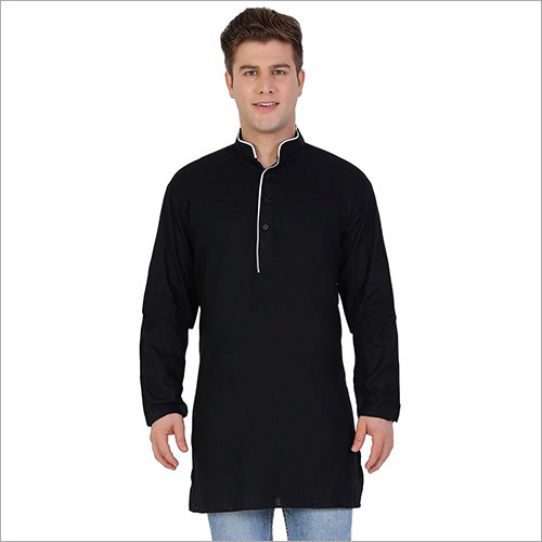 Veera Paridhaan Men's Solid Black Kurta Pajama