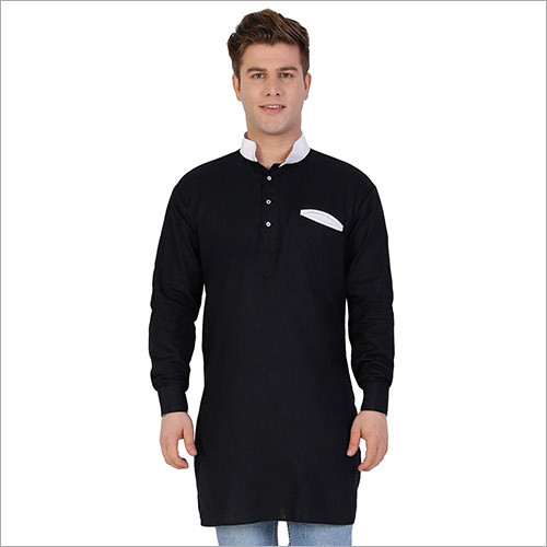 Veera Paridhaan Men's Solid Black Kurta