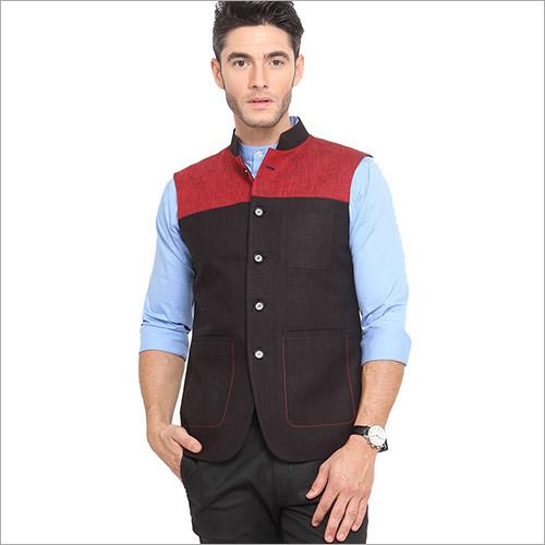 Veera Paridhaan Men's Solid Black & Red Nehru Jacket