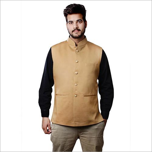 Veera Paridhaan Men's Camel Color Cotton Nehru Jacket