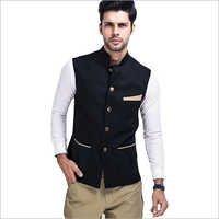 Veera Paridhaan Men's Solid Black Nehru Jacket