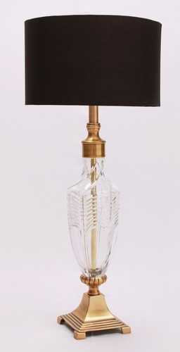 METAL GLASS SQUARE BASE TABLE LAMP
