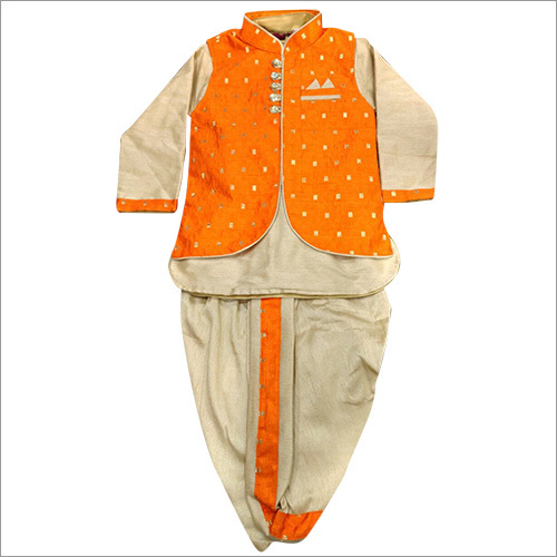 Kids Orange Sherwani
