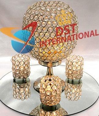 Elegant Golden Crystal Candle Holder