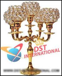 Brass Metal Crystal Candelabra