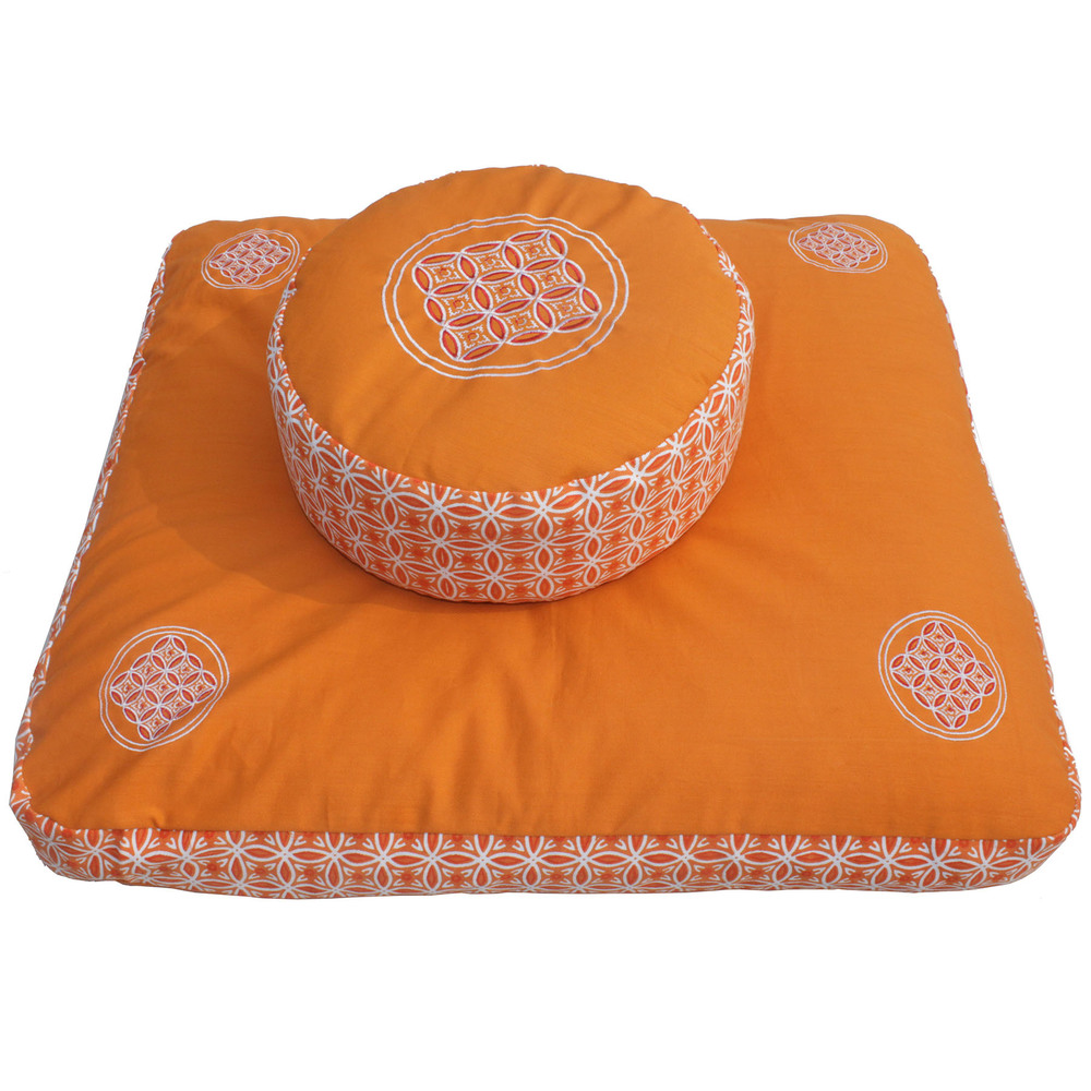 Meditation Cushion Set- Saffron