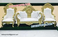 Latest Golden Carved Wedding Throne Set