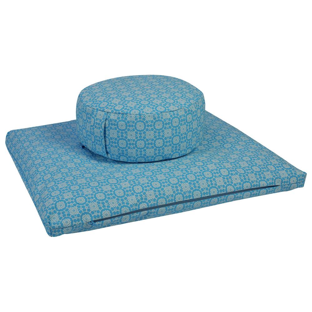 Meditation Cushion Set- Sky Blue Print