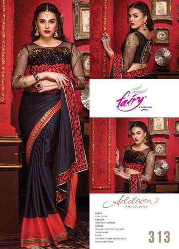 Silk Crepe fancy Saree