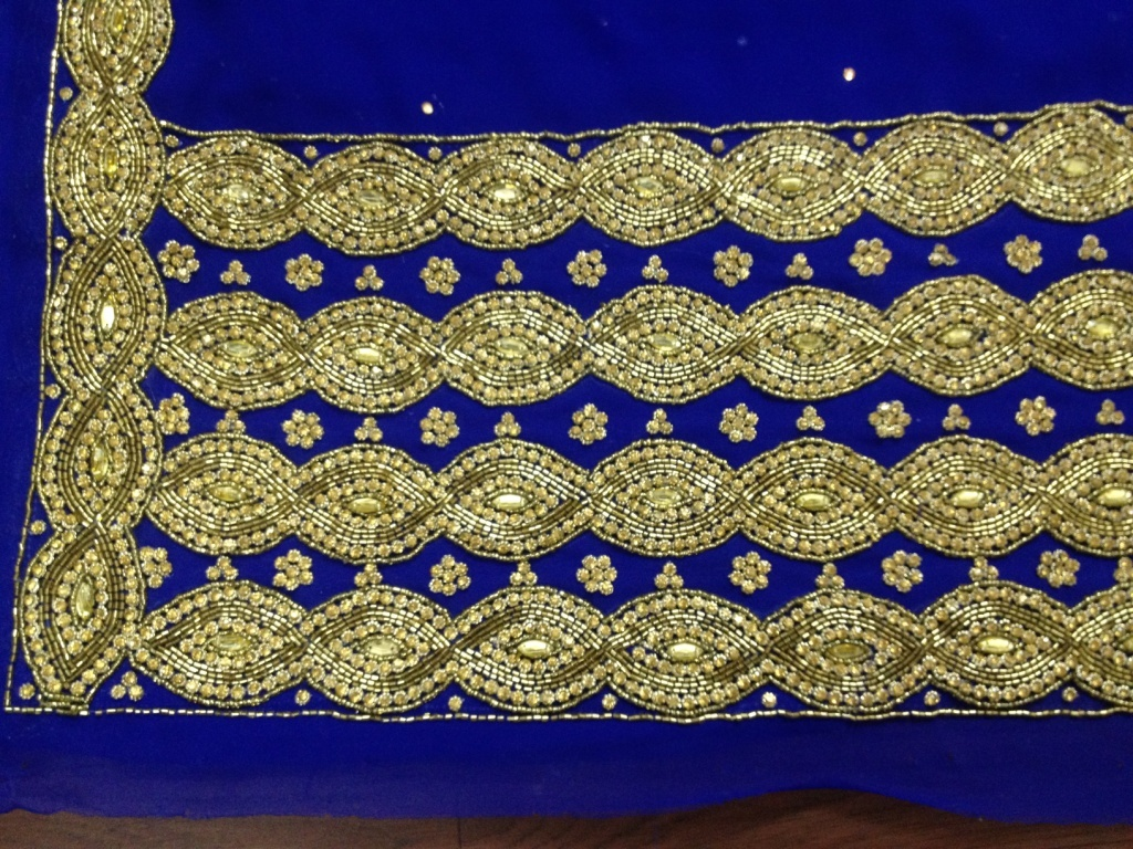 Hand Beaded Georgette Embroidered Fabric