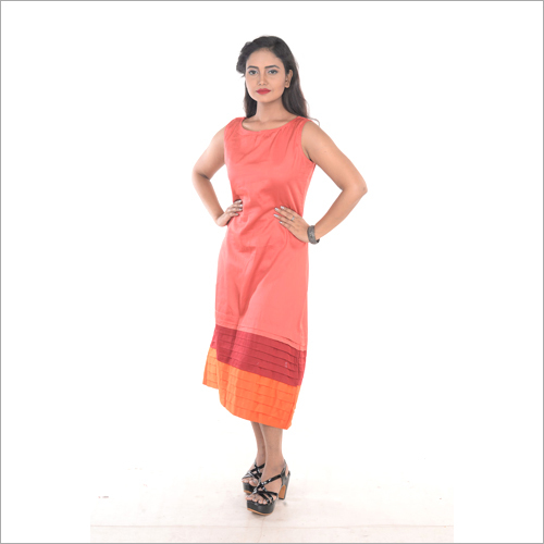 Ladies Cotton Pink Midi Dress