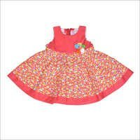 Girls Printed Red Frock