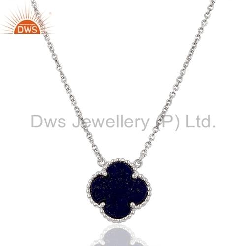 Natural Lapis Lazuli Gemstone Silver Clover Chain Pendant Jewelry