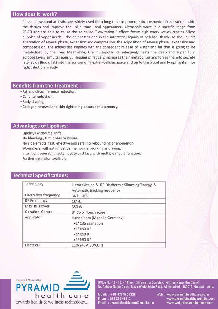 Ultrasonic Cavitation and RF Diathermic Slimming Machine