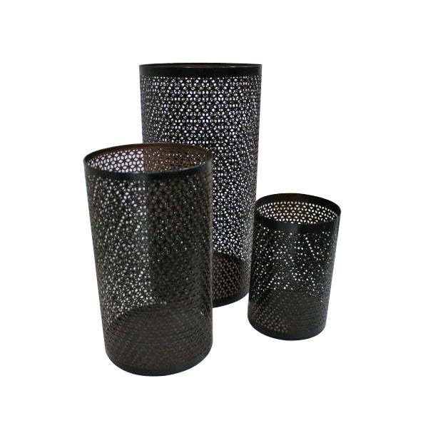 Trio Mesh Design Hurricane Candle Holder