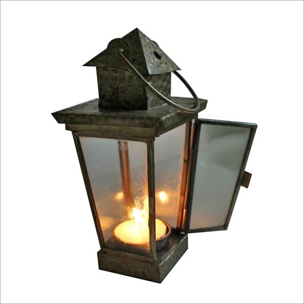 Dull Gold T Light Candle Lantern