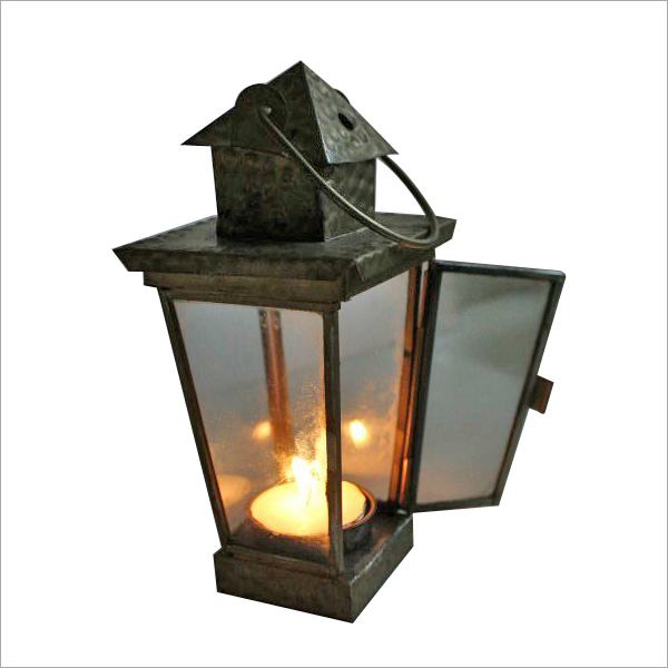 Dull Gold T Light Candle Lantern