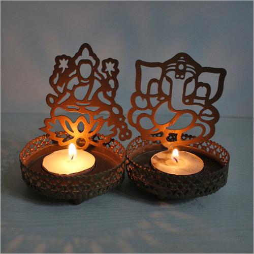 Ganesh and Luxmi Shadow Diya Tea Light Holder