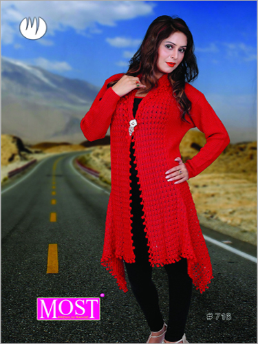Woolen Red Long Shrug