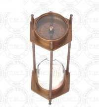 Antique Brass Sand Timer With Two Side Compass