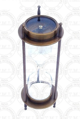Brass Antique Sand Timer With Two Side Compass (5 Min)