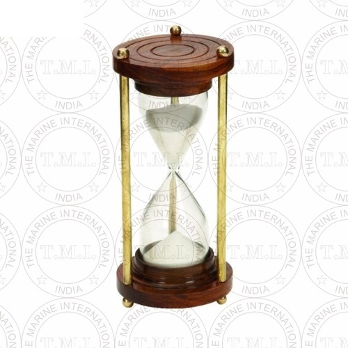 Nautical Wood & Brass Sand Timer (5 Min)