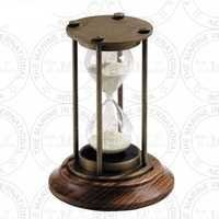 Antique Brass Sand Timer With Wooden Base (15 Min)