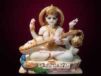 White Stone Saraswati Statue