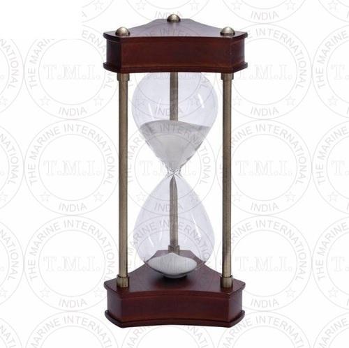Nautical Triangular Hourglass Wooden Sand Timer (60 Min)