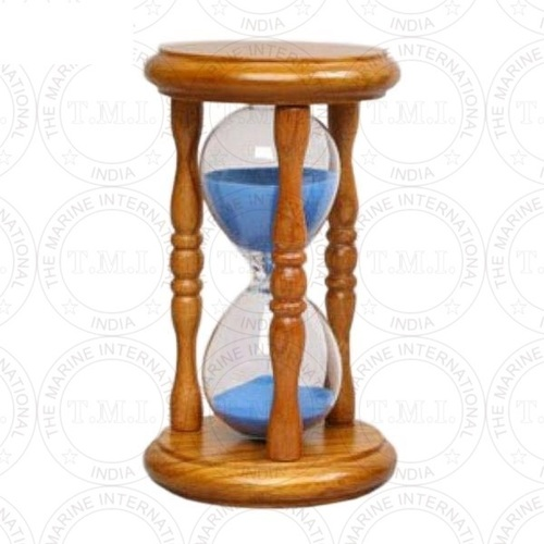 Maritime Wooden Sand Timer With Blue Sand (5 Min)