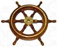 Wooden Ship Wheel With Brass Work
