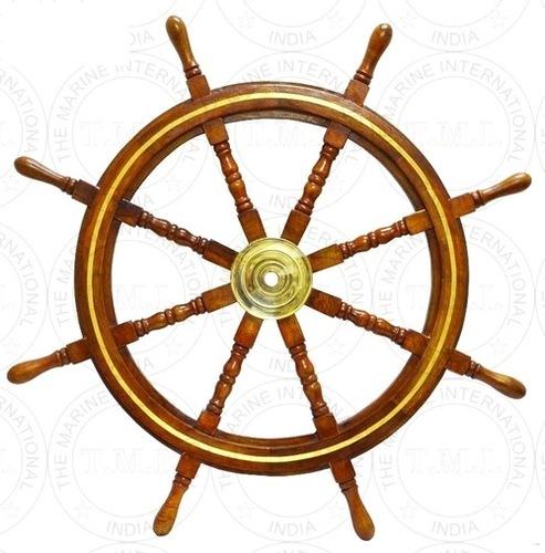 Wooden Ship Wheel With Brass Work