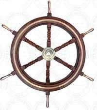 Brass Handle Wooden Ship Wheel With Brass Work