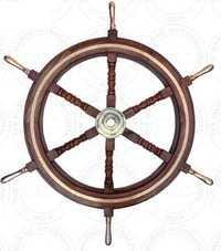Brass Handle Wooden Ship Wheel With Brass Work