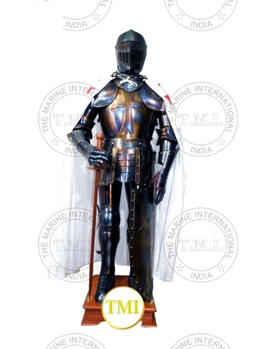 Medieval Knight Crusader Armour Suit With Stand