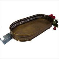 Metal Carved Rectangular Tray
