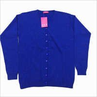 Ladies Fine Knit Blue Cardigan