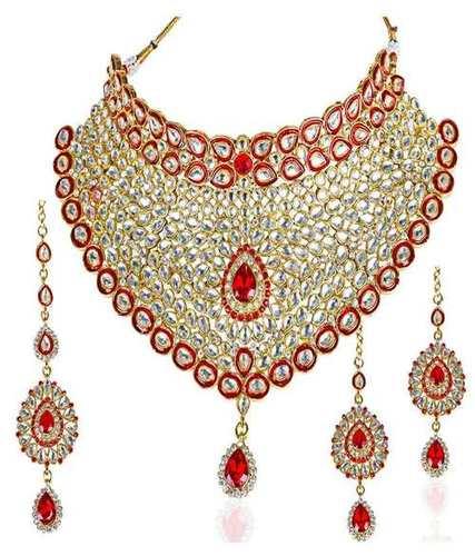 Red Kundan Bridal Necklace Set with Maang Tikka