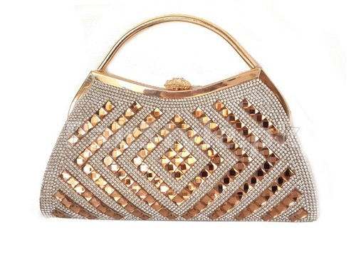Golden Stone Studded Bridal Purse