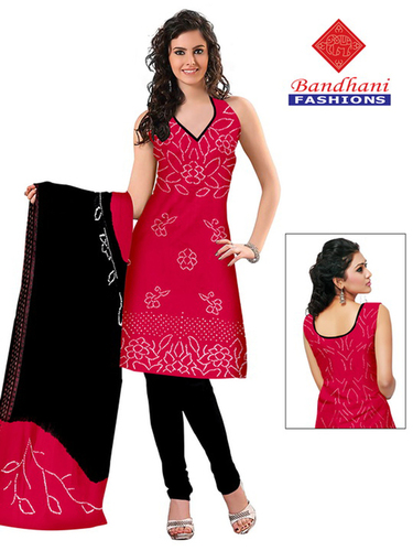 Bandhani Black Pink Cotton Silk Suits