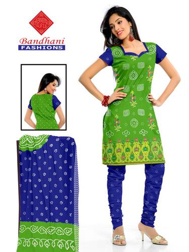 Bandhani Green Blue Cotton Silk SuitsBandhani Gree