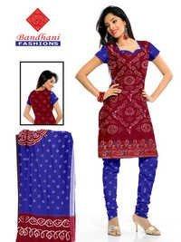 Bandhani Marron Fast blue Cotton Silk Suits