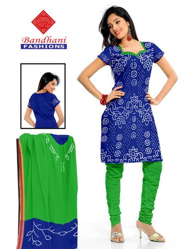 Bandhani Navy Blue Green Cotton Silk Suits